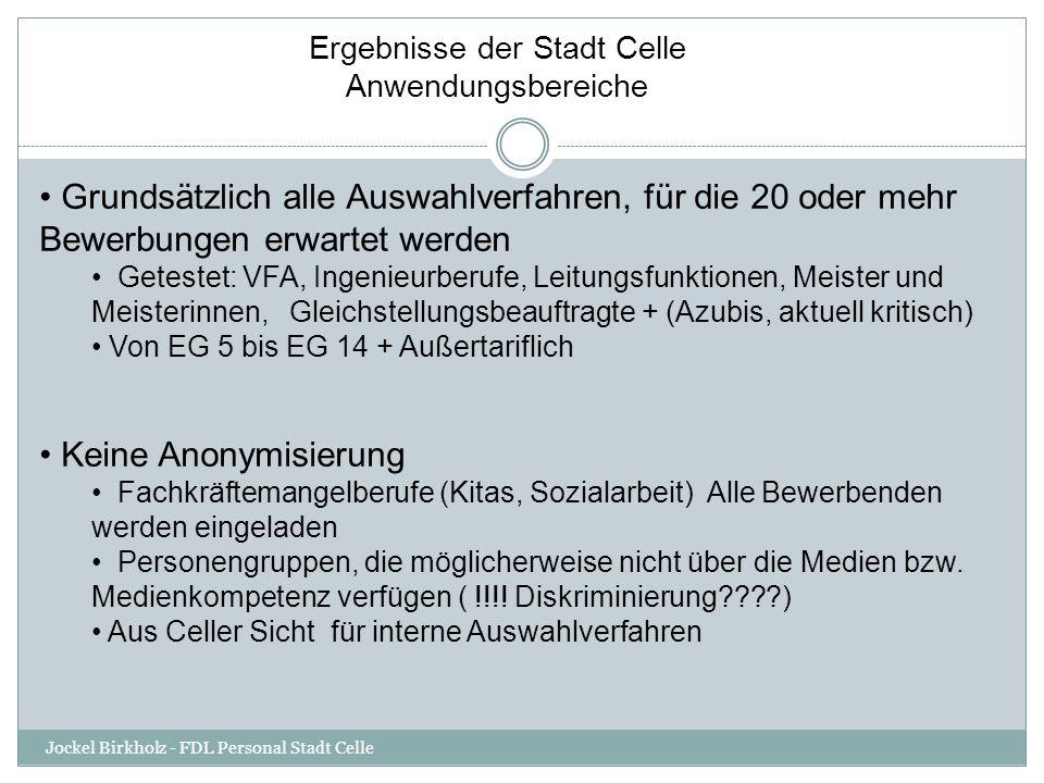 Ergebnisse der Stadt Celle Anwendungsbereiche