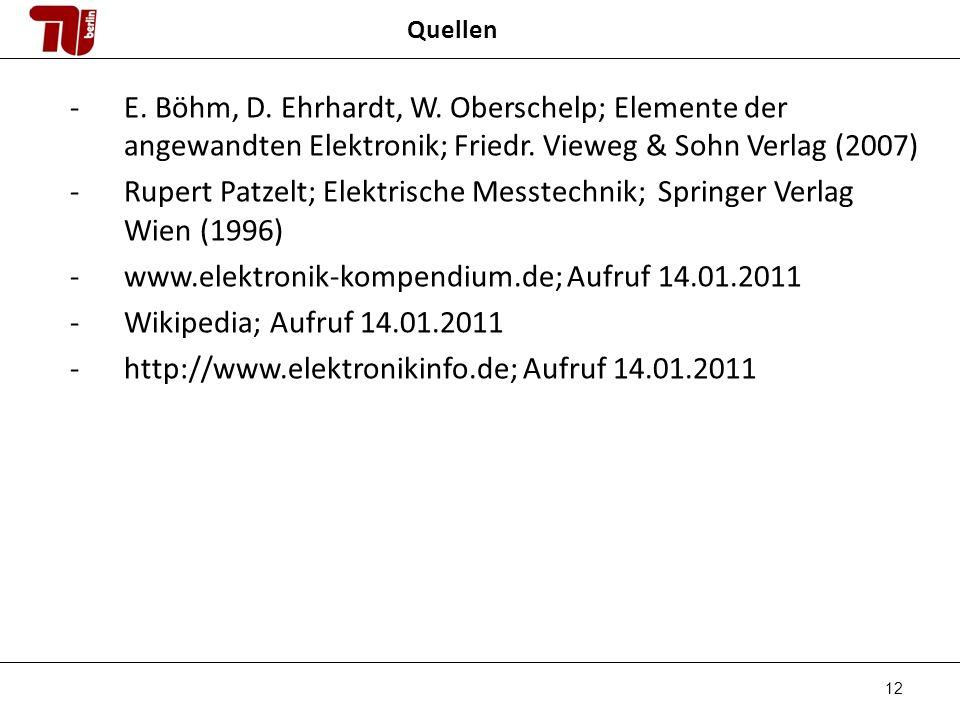Rupert Patzelt; Elektrische Messtechnik; Springer Verlag Wien (1996)
