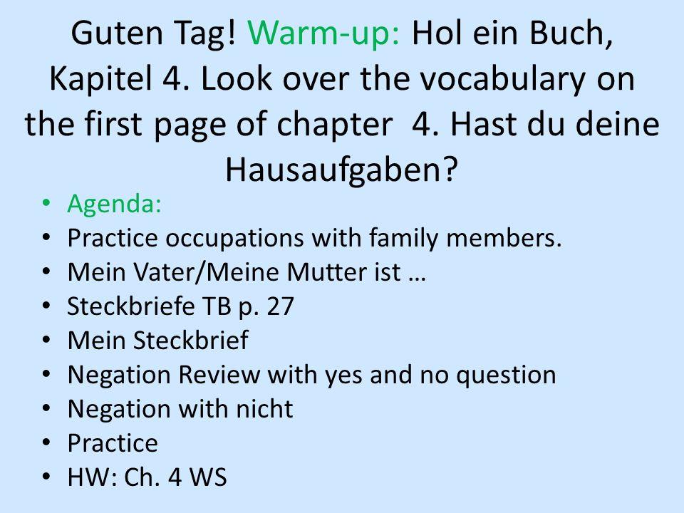 Guten Tag. Warm-up: Hol ein Buch, Kapitel 4