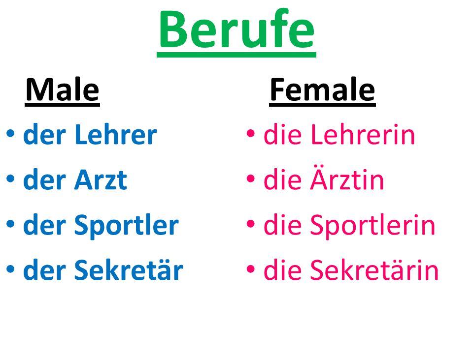 Berufe Male Female der Lehrer der Arzt der Sportler der Sekretär
