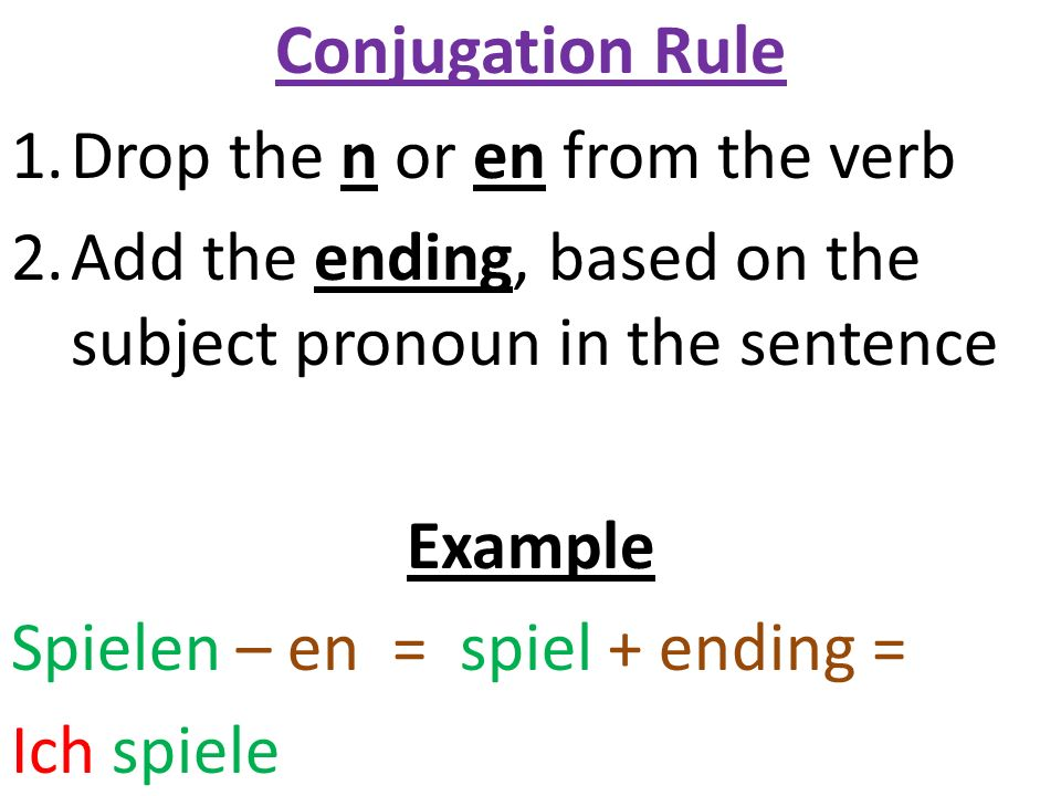 Conjugation Rule Drop the n or en from the verb