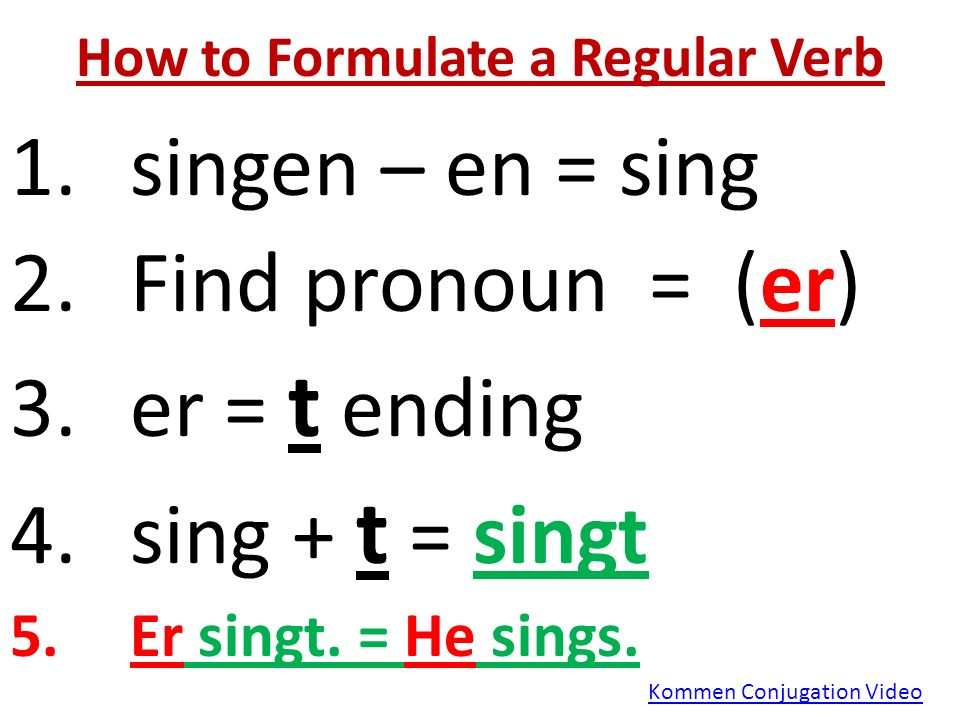 How to Formulate a Regular Verb