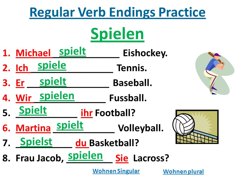 Regular Verb Endings Practice