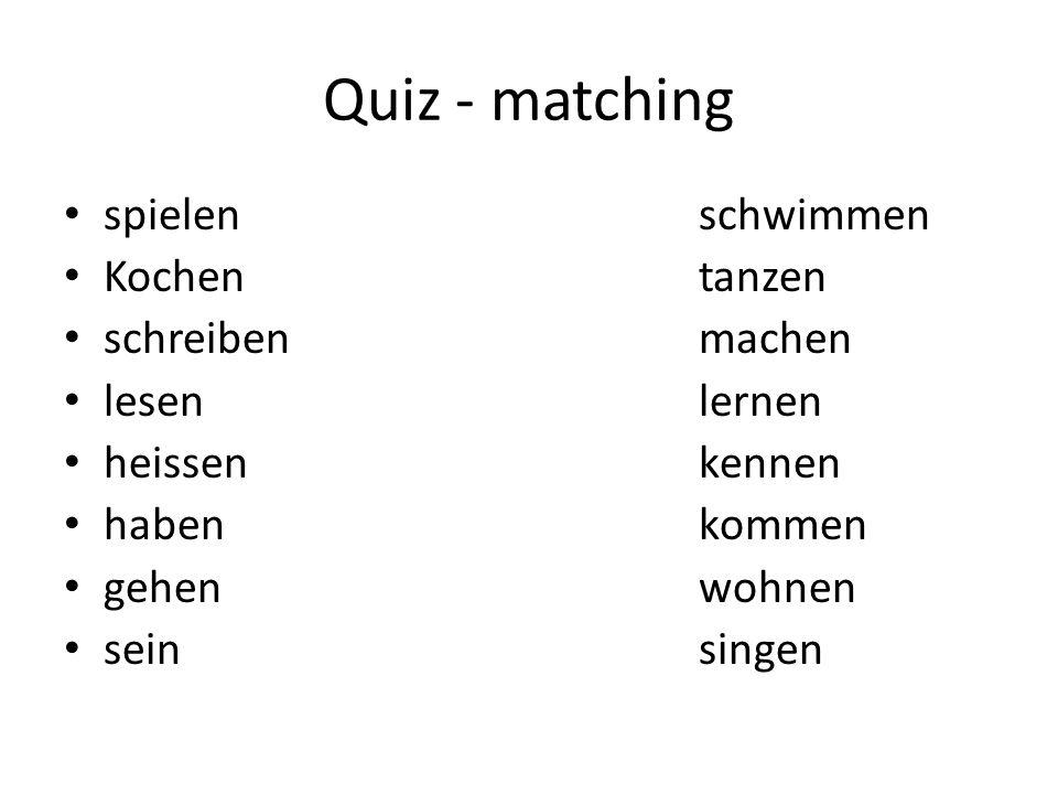 Quiz - matching spielen schwimmen Kochen tanzen schreiben machen