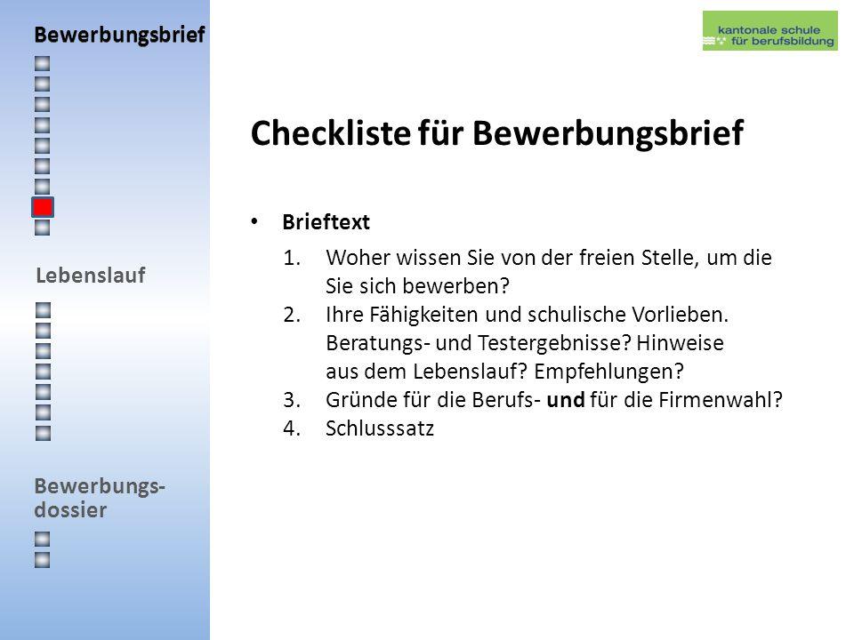 Checkliste für Bewerbungsbrief