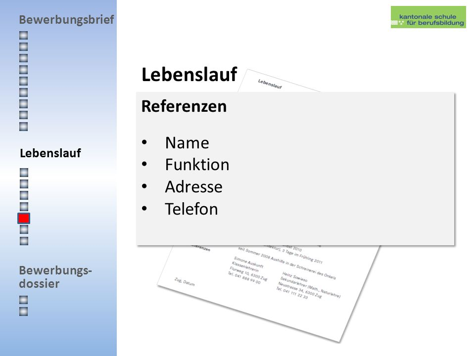 Lebenslauf Referenzen Name Funktion Adresse Telefon Lebenslauf