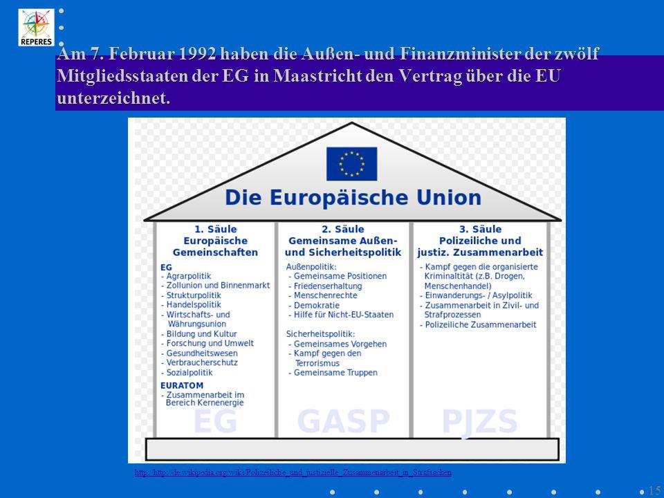 Am 7. Februar 1992 haben die Außen- und Finanzminister der zwölf Mitgliedsstaaten der EG in Maastricht den Vertrag über die EU unterzeichnet.