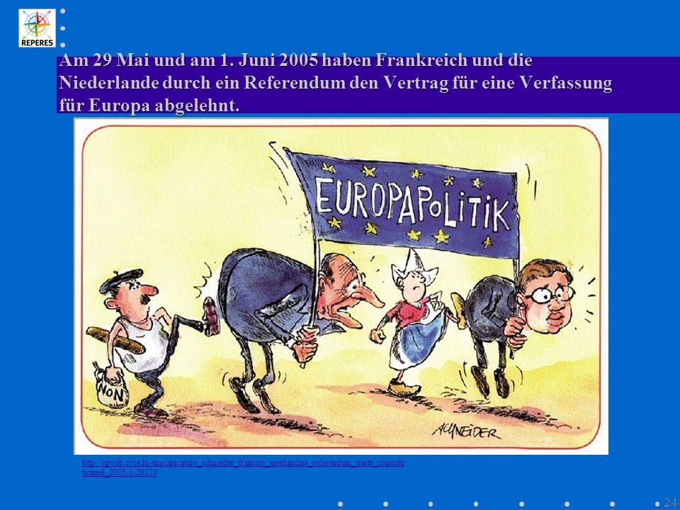 Am 29 Mai und am 1. Juni 2005 haben Frankreich und die Niederlande durch ein Referendum den Vertrag für eine Verfassung für Europa abgelehnt.