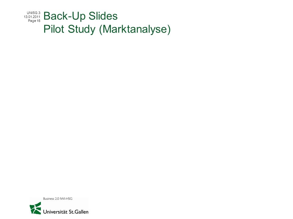Back-Up Slides Pilot Study (Marktanalyse)