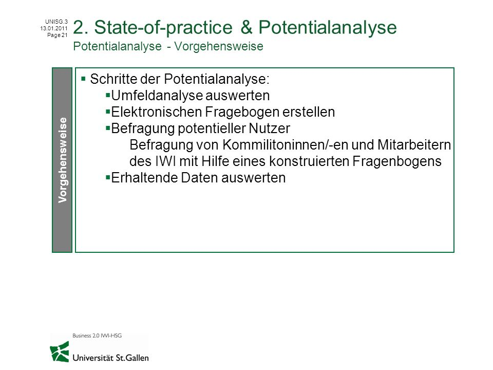 2. State-of-practice & Potentialanalyse Potentialanalyse - Vorgehensweise