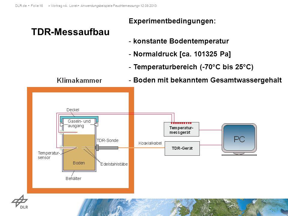 TDR-Messaufbau Experimentbedingungen: konstante Bodentemperatur