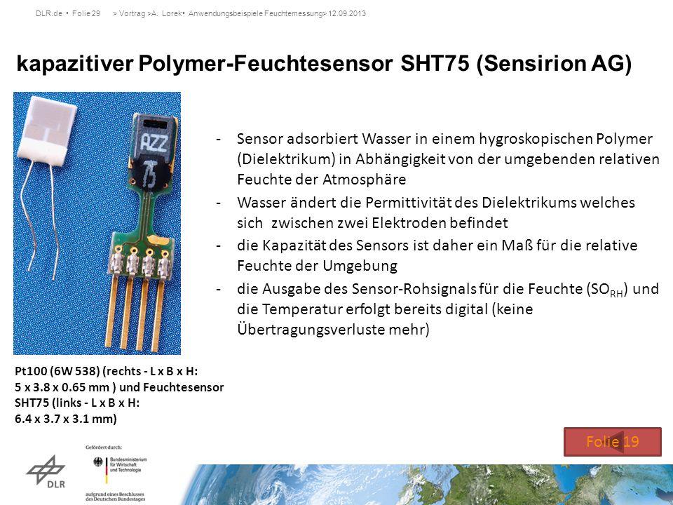 kapazitiver Polymer-Feuchtesensor SHT75 (Sensirion AG)