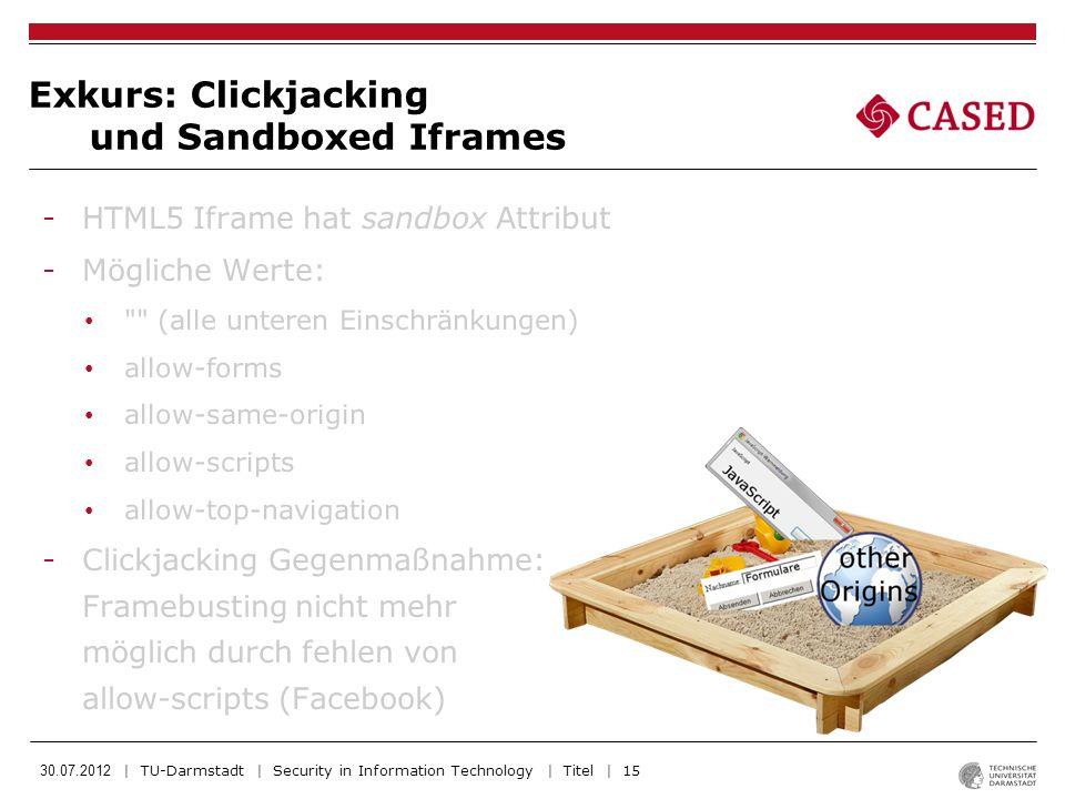 Exkurs: Clickjacking und Sandboxed Iframes