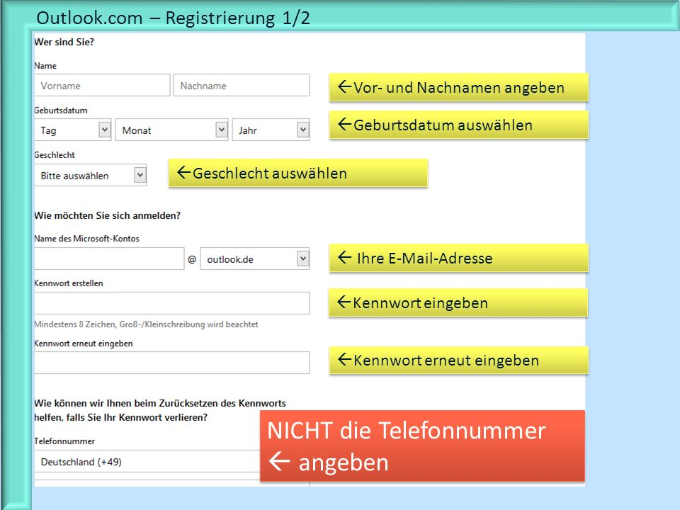 Outlook.com – Registrierung 1/2