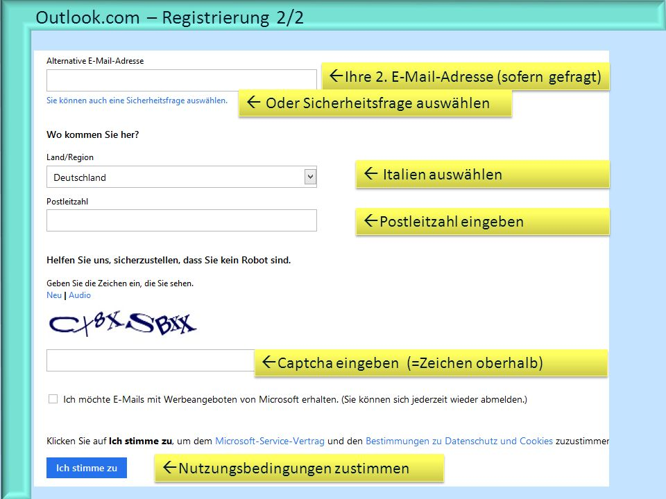 Outlook.com – Registrierung 2/2