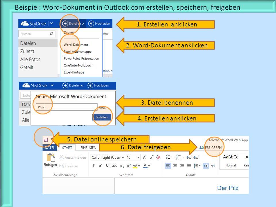 Beispiel: Word-Dokument in Outlook.com erstellen, speichern, freigeben