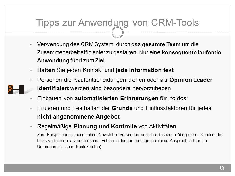 Tipps zur Anwendung von CRM-Tools