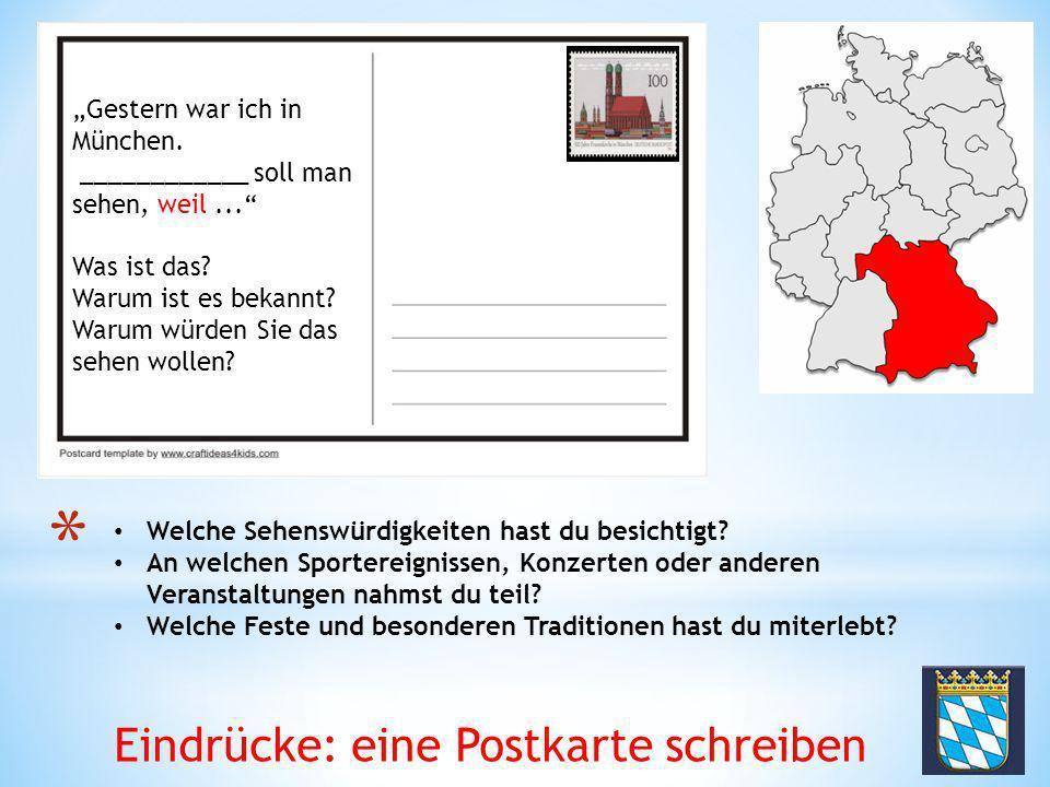 Eindrücke: eine Postkarte schreiben