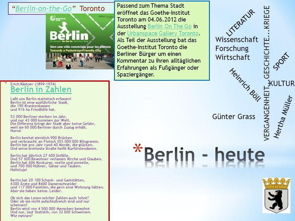 Berlin - heute Berlin-on-the-Go Toronto LITERATUR Wissenschaft