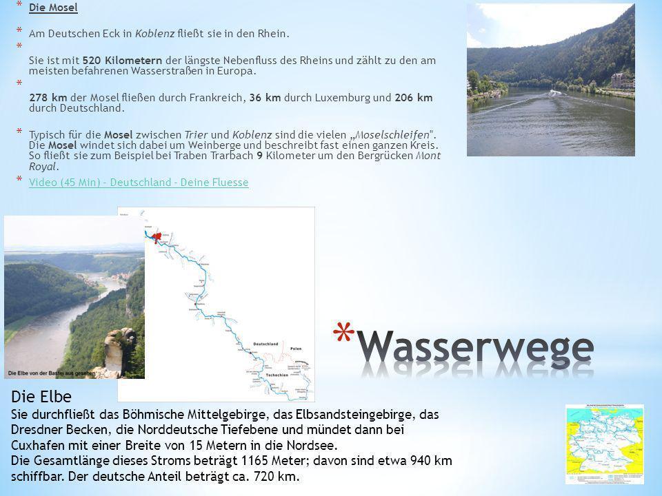Die Mosel Am Deutschen Eck in Koblenz fließt sie in den Rhein.