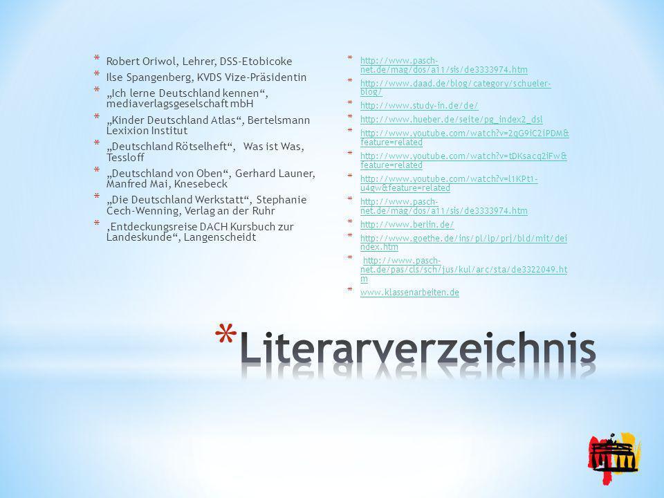 Literarverzeichnis Robert Oriwol, Lehrer, DSS-Etobicoke