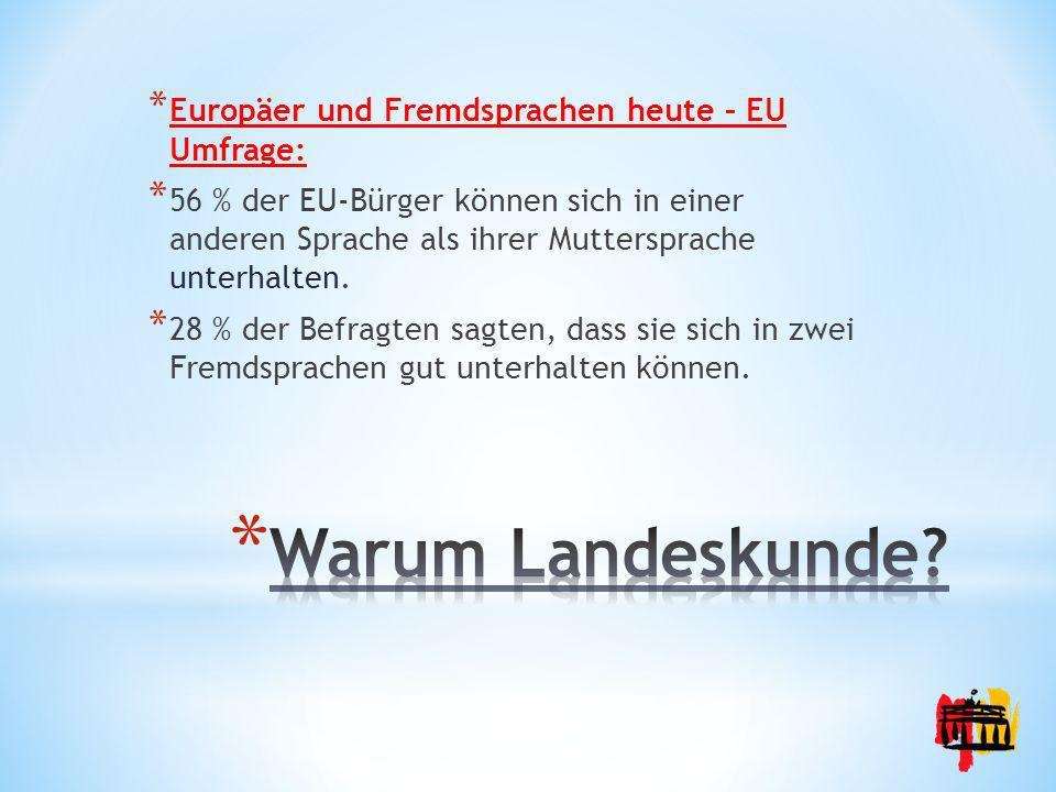 Warum Landeskunde Europäer und Fremdsprachen heute – EU Umfrage: