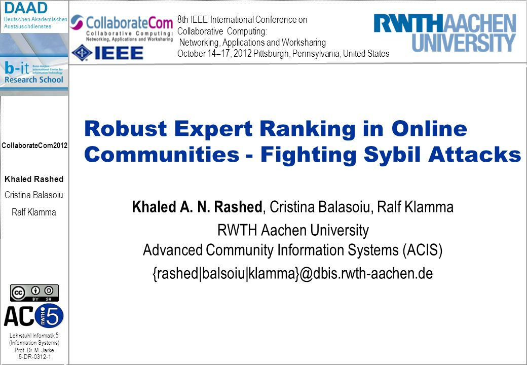 Robust Expert Ranking in Online Communities - Fighting Sybil Attacks