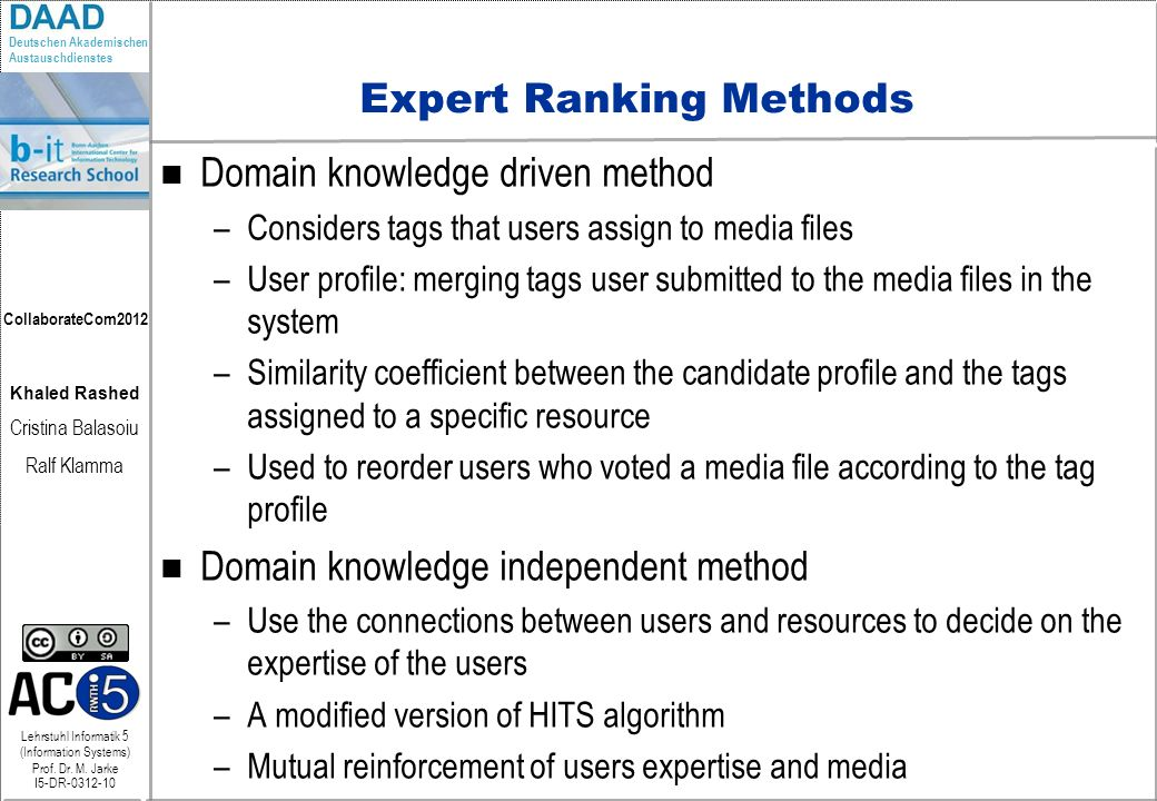 Expert Ranking Methods