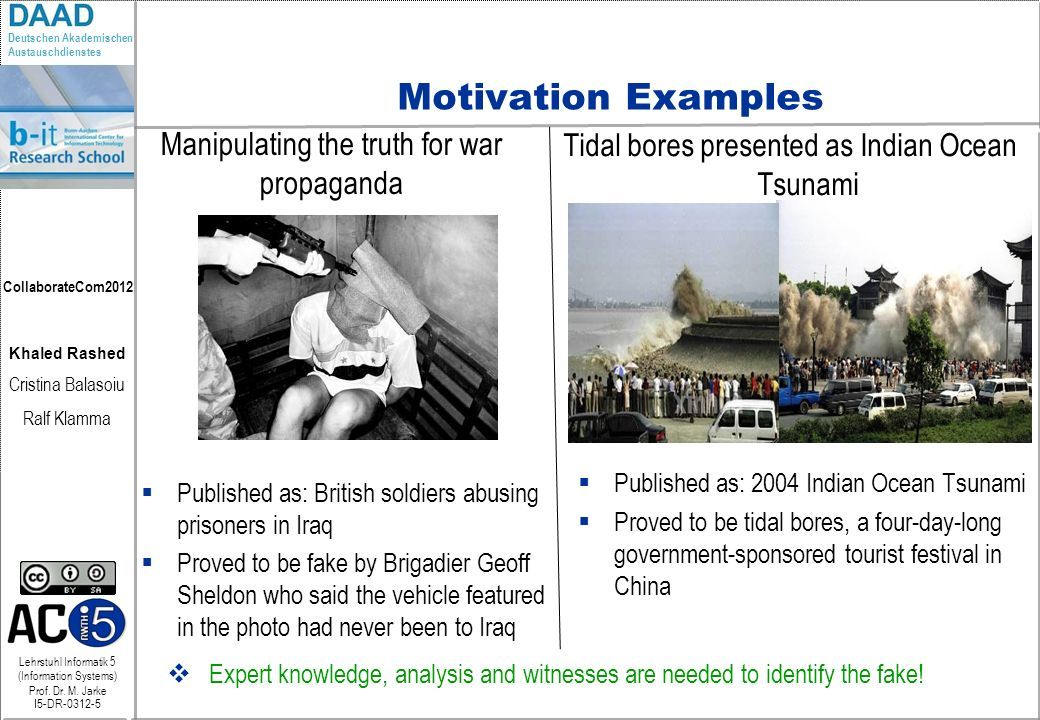 Motivation Examples Manipulating the truth for war propaganda