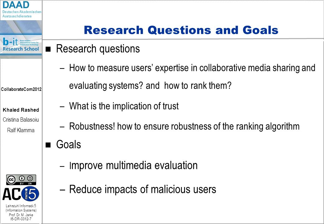 Research Questions and Goals