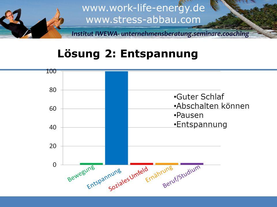 Lösung 2: Entspannung Beruf/Studium Guter Schlaf Abschalten können