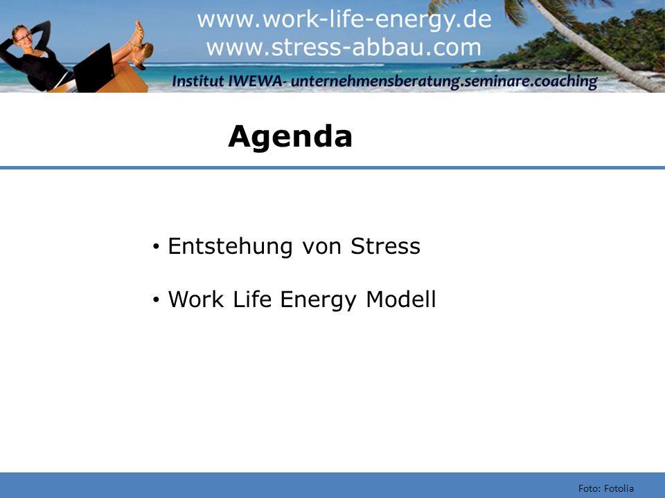 Agenda Entstehung von Stress Work Life Energy Modell Foto: Fotolia