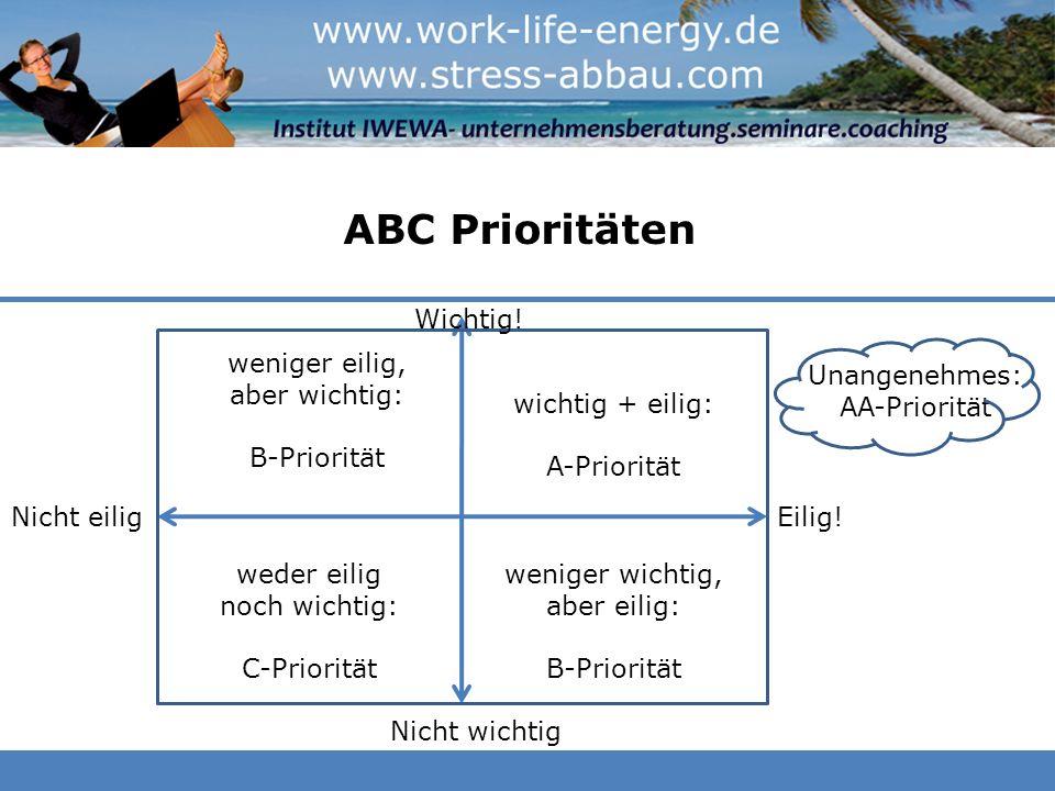 ABC Prioritäten Wichtig! weniger eilig, aber wichtig: B-Priorität
