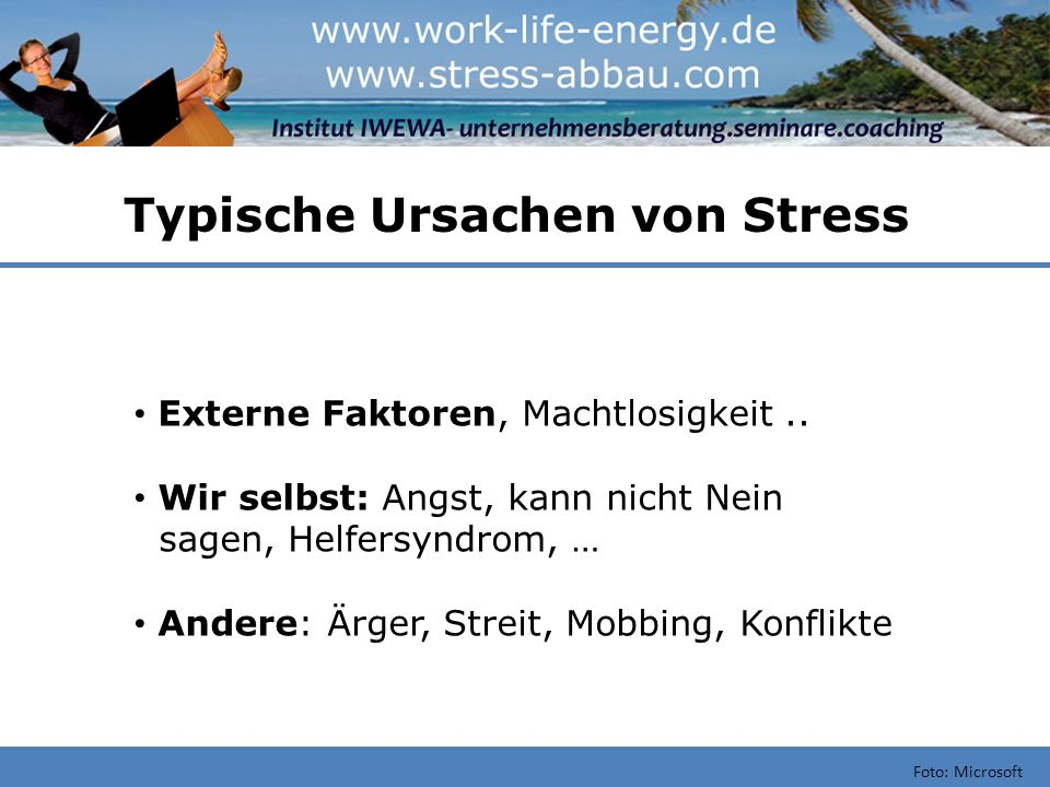 Typische Ursachen von Stress