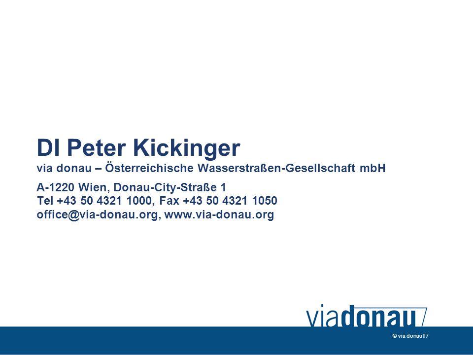 DI Peter Kickinger via donau – Österreichische Wasserstraßen-Gesellschaft mbH A-1220 Wien, Donau-City-Straße 1 Tel +43 50 4321 1000, Fax +43 50 4321 1050 office@via-donau.org, www.via-donau.org