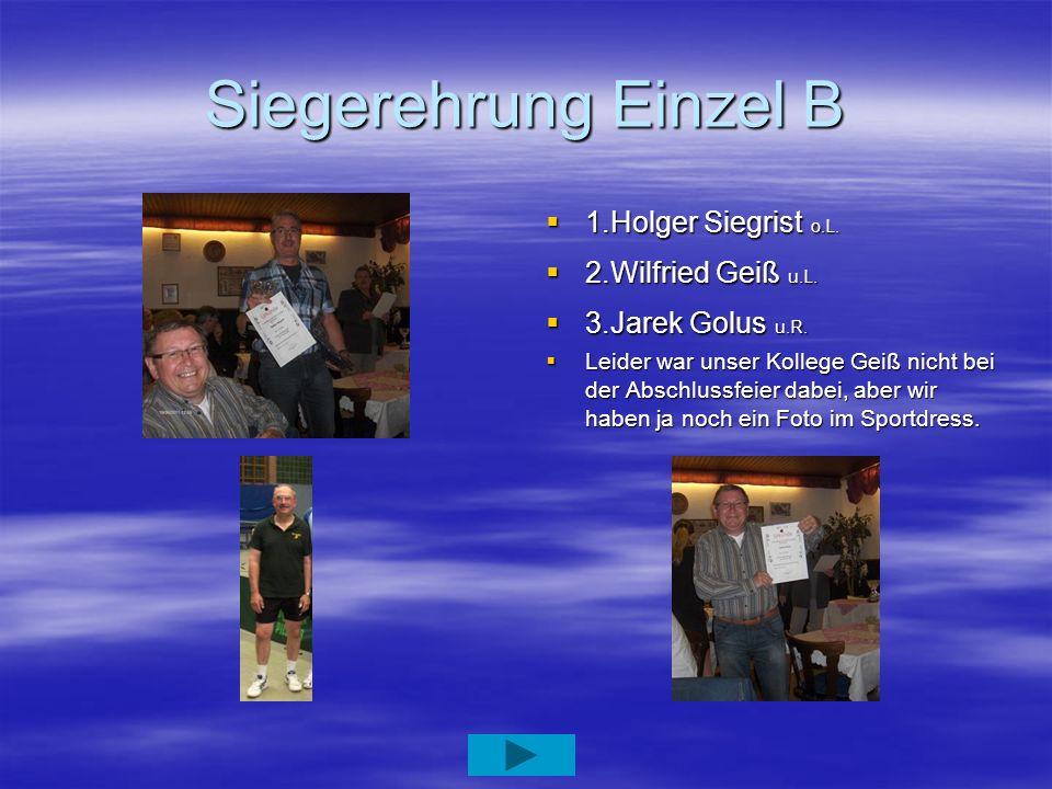 Siegerehrung Einzel B 1.Holger Siegrist o.L. 2.Wilfried Geiß u.L.