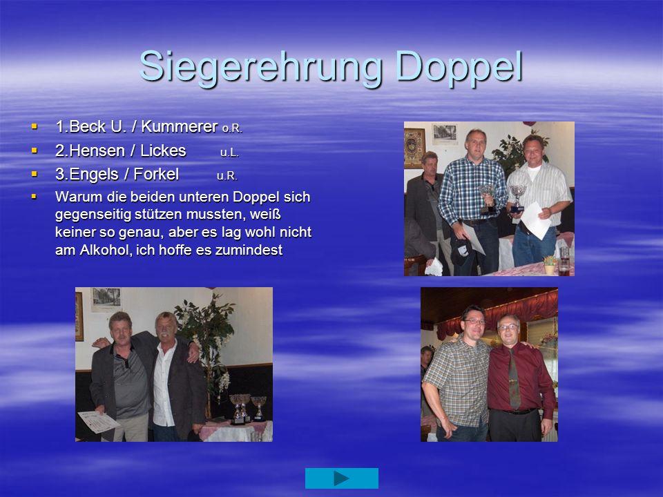 Siegerehrung Doppel 1.Beck U. / Kummerer o.R. 2.Hensen / Lickes u.L.