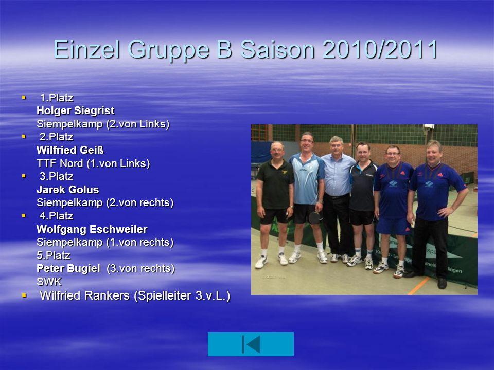 Einzel Gruppe B Saison 2010/2011
