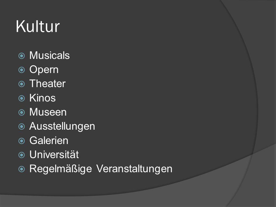 Kultur Musicals Opern Theater Kinos Museen Ausstellungen Galerien