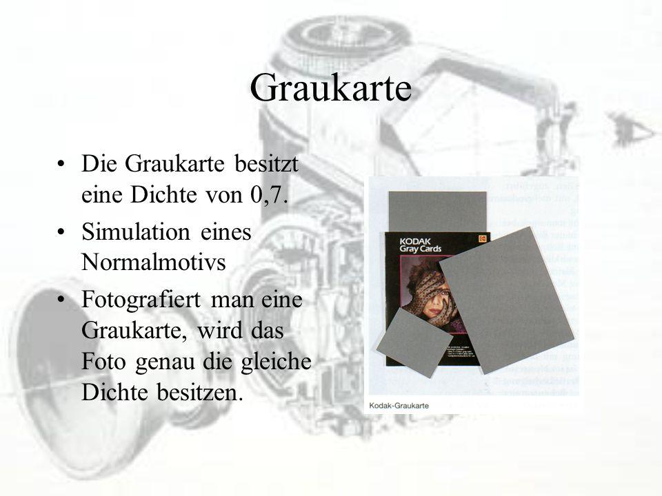 Graukarte Die Graukarte besitzt eine Dichte von 0,7.