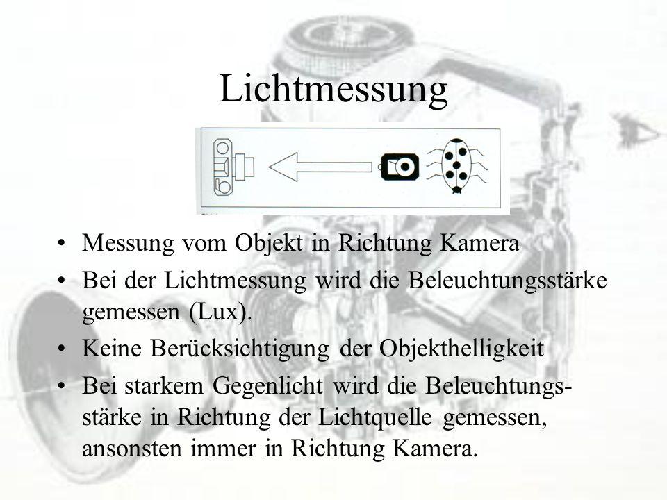 Lichtmessung Messung vom Objekt in Richtung Kamera