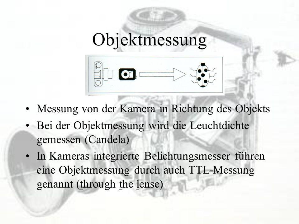Objektmessung Messung von der Kamera in Richtung des Objekts