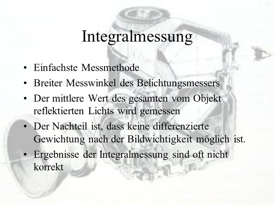 Integralmessung Einfachste Messmethode