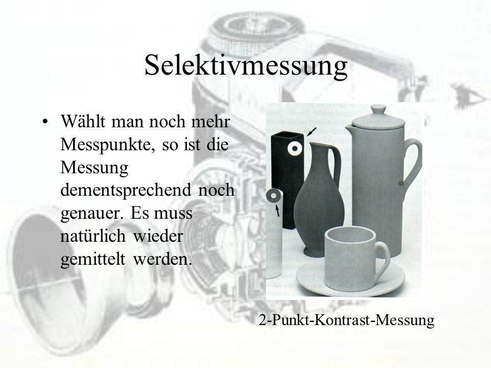 Selektivmessung Wählt man noch mehr Messpunkte, so ist die Messung dementsprechend noch genauer. Es muss natürlich wieder gemittelt werden.