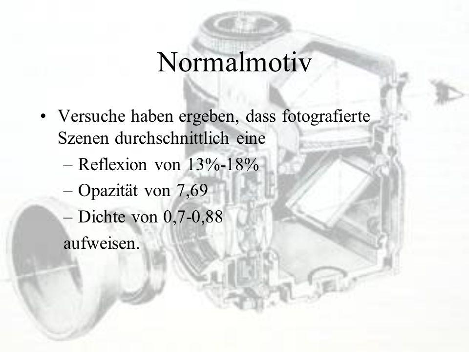 Normalmotiv Versuche haben ergeben, dass fotografierte Szenen durchschnittlich eine. Reflexion von 13%-18%