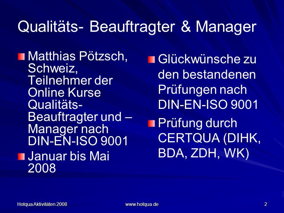 Qualitäts- Beauftragter & Manager
