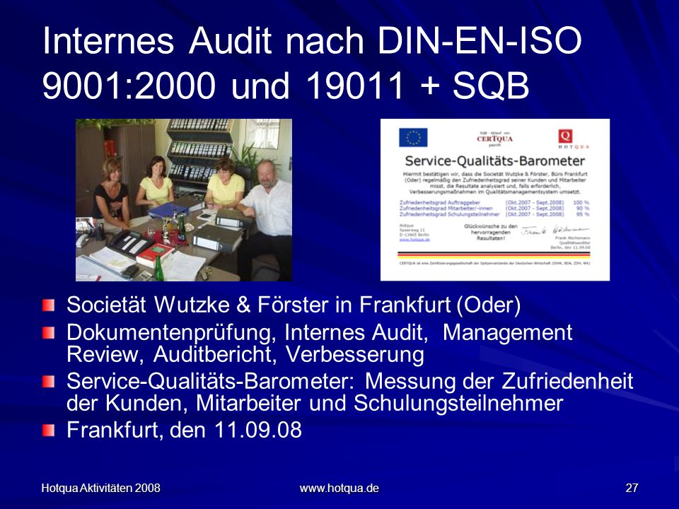 Internes Audit nach DIN-EN-ISO 9001:2000 und 19011 + SQB