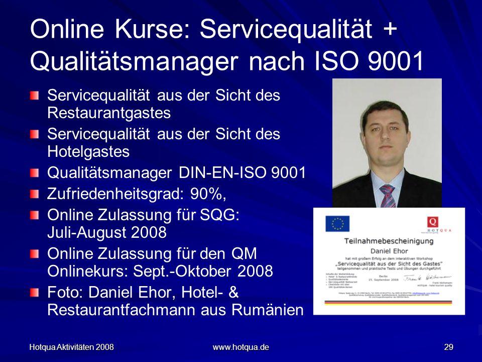Online Kurse: Servicequalität + Qualitätsmanager nach ISO 9001