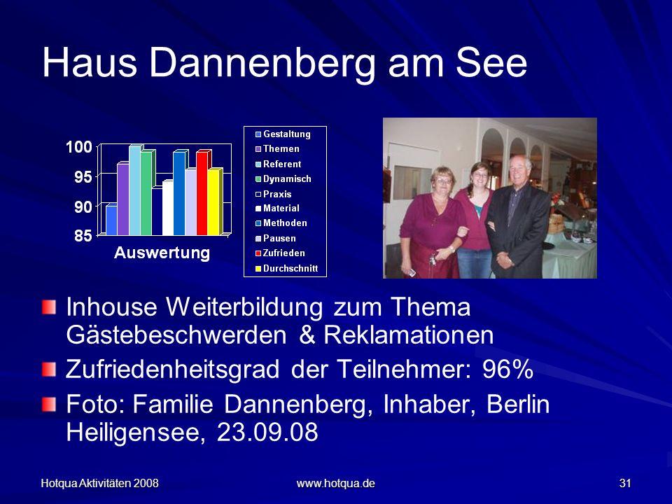 Haus Dannenberg am See Inhouse Weiterbildung zum Thema Gästebeschwerden & Reklamationen. Zufriedenheitsgrad der Teilnehmer: 96%