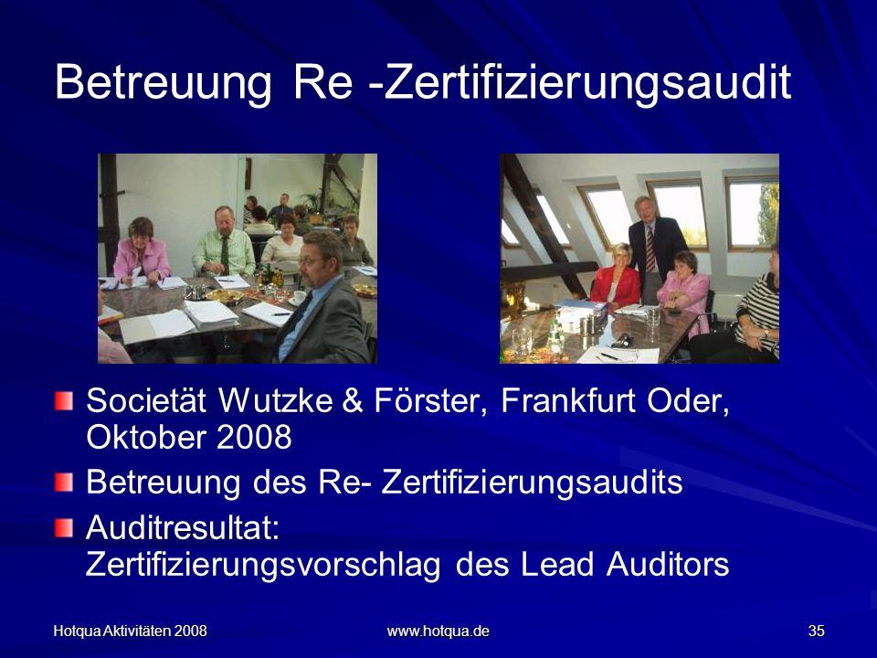 Betreuung Re -Zertifizierungsaudit
